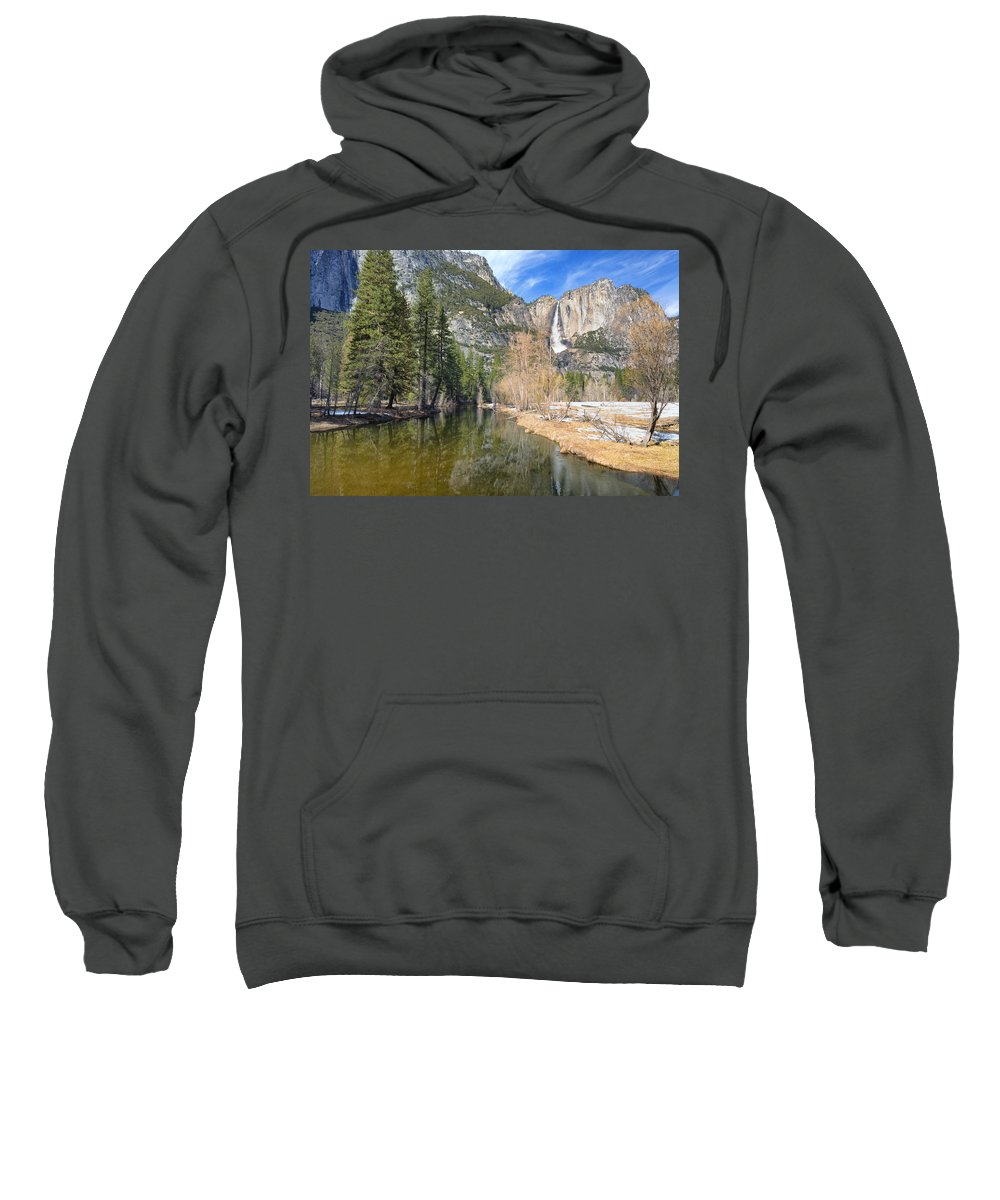 Merced River Sweatshirt featuring the photograph Peaceful Winter River Through Yosemite Valley by Doug Holck