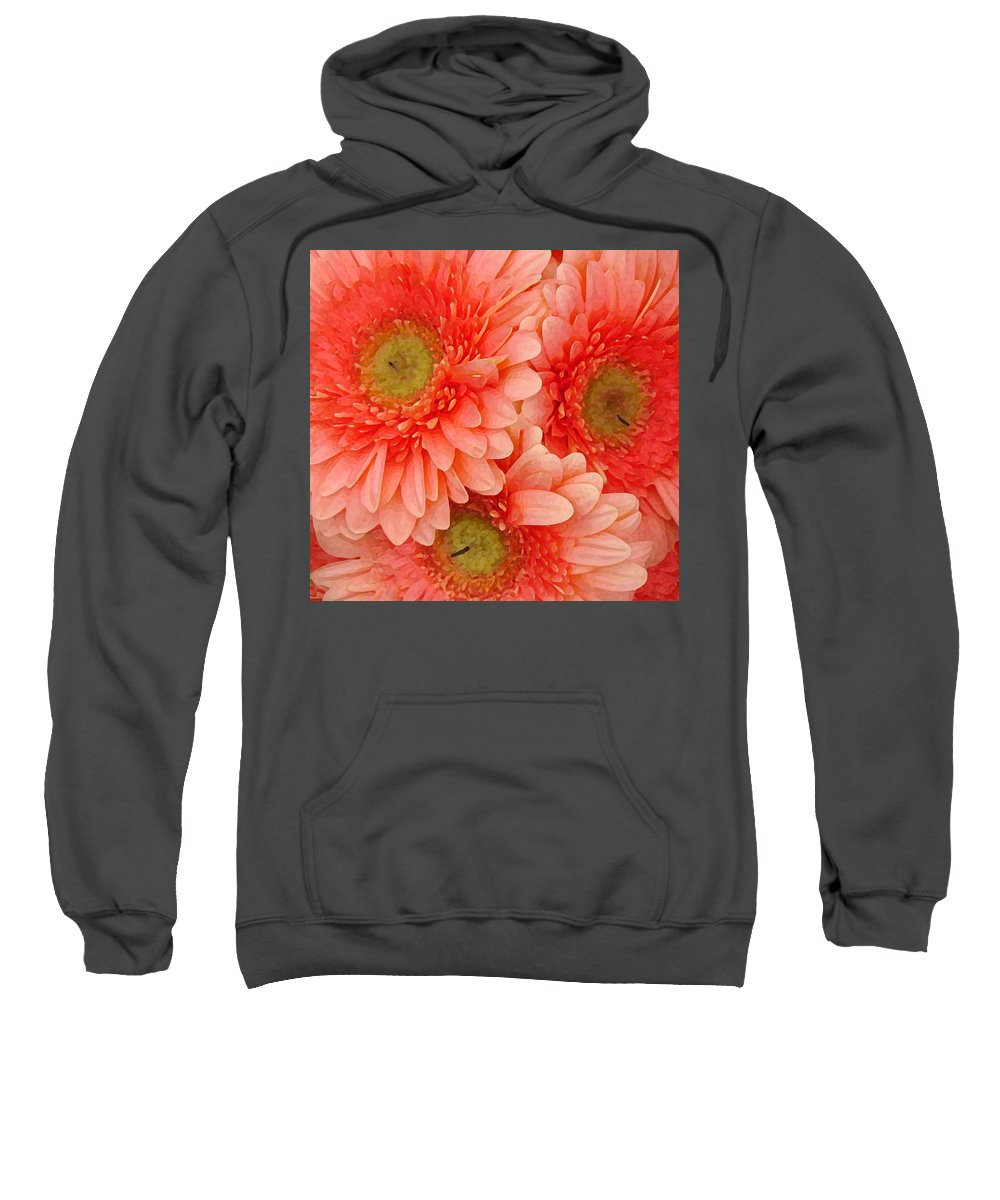 Floral Sweatshirt featuring the painting Peach Gerbers by Amy Vangsgard