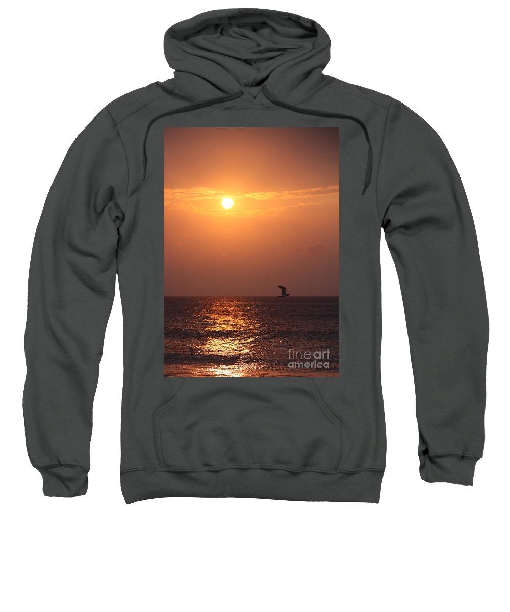 Birds Sweatshirt featuring the photograph Peach Sunrise And Bird In Flight by Nadine Rippelmeyer