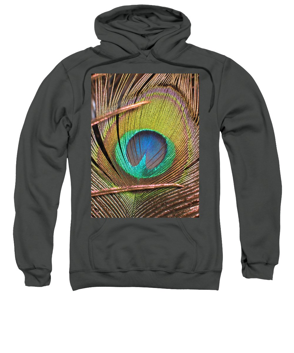 Peacock Feather Sweatshirt featuring the photograph Peacock Feather by Denise Keegan Frawley