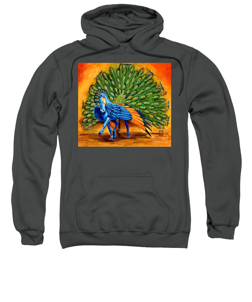 Horse Sweatshirt featuring the painting Peacock Pegasus by Melissa A Benson