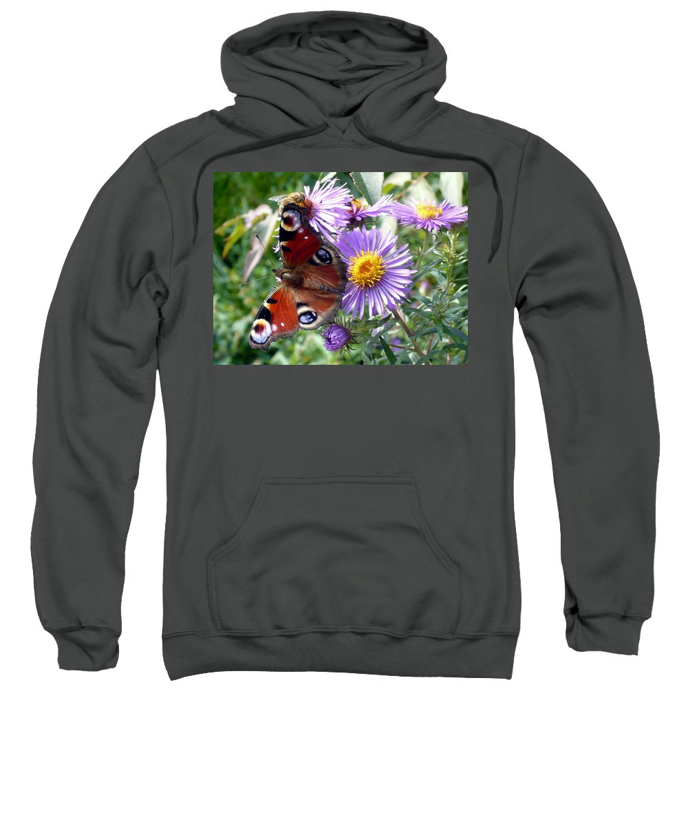 Peacock Sweatshirt featuring the photograph Peacock With Bee by Helmut Rottler