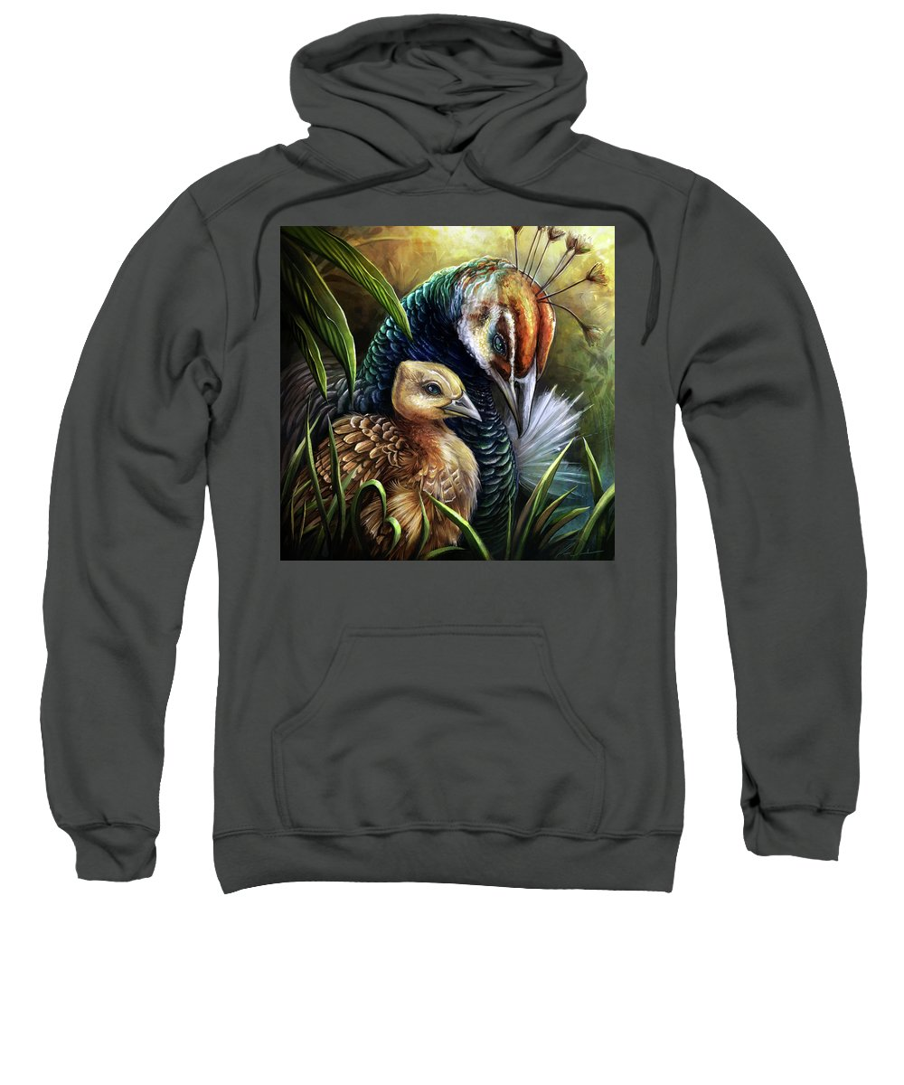 Peahen Sweatshirt featuring the digital art Peahen And Chick by Cass Womack