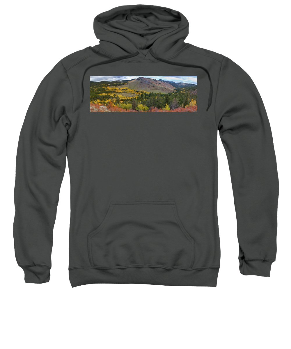 Colorful Sweatshirt featuring the photograph Peak To Peak Highway Boulder County Colorado Autumn View by James BO Insogna