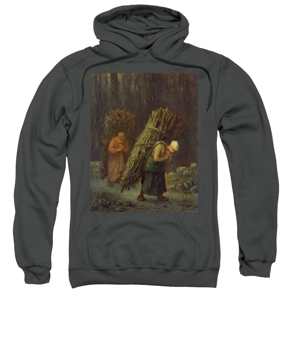 Barbizon School Sweatshirt featuring the painting Peasant Women With Brushwood by Jean-Francois Millet
