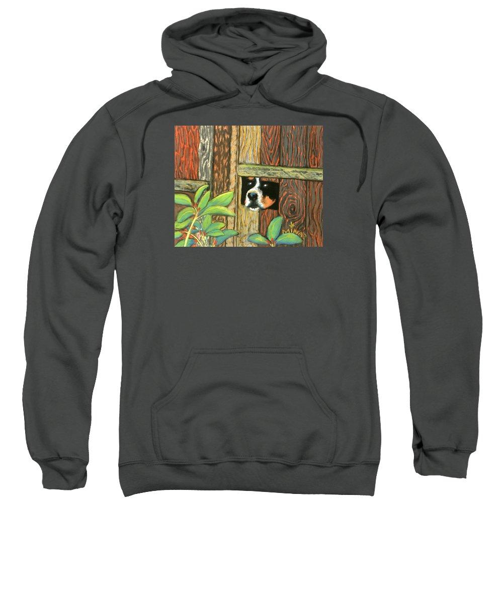 Dog Sweatshirt featuring the painting Peek-a-boo Fence by Minaz Jantz