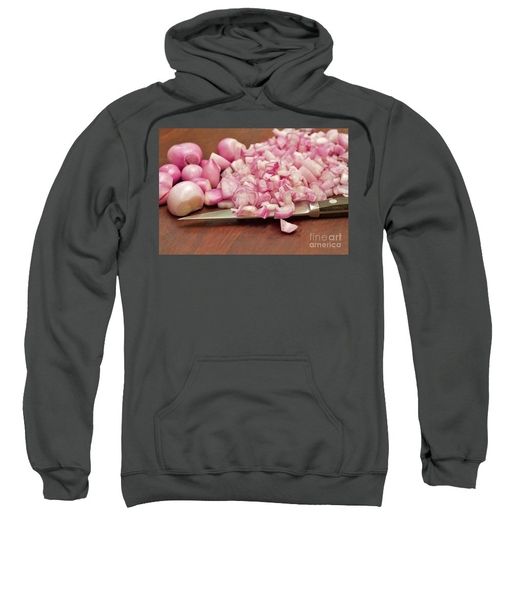 Peeled Sweatshirt featuring the photograph Peeled And Chopped Shallots by Louise Heusinkveld