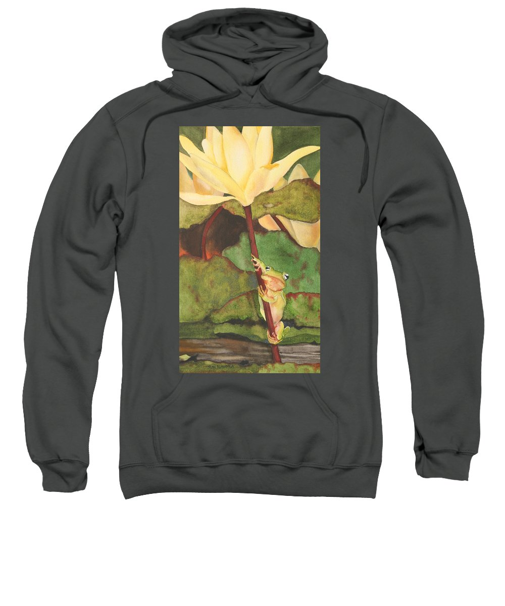 Frog Sweatshirt featuring the painting Peeping Tom by Jean Blackmer