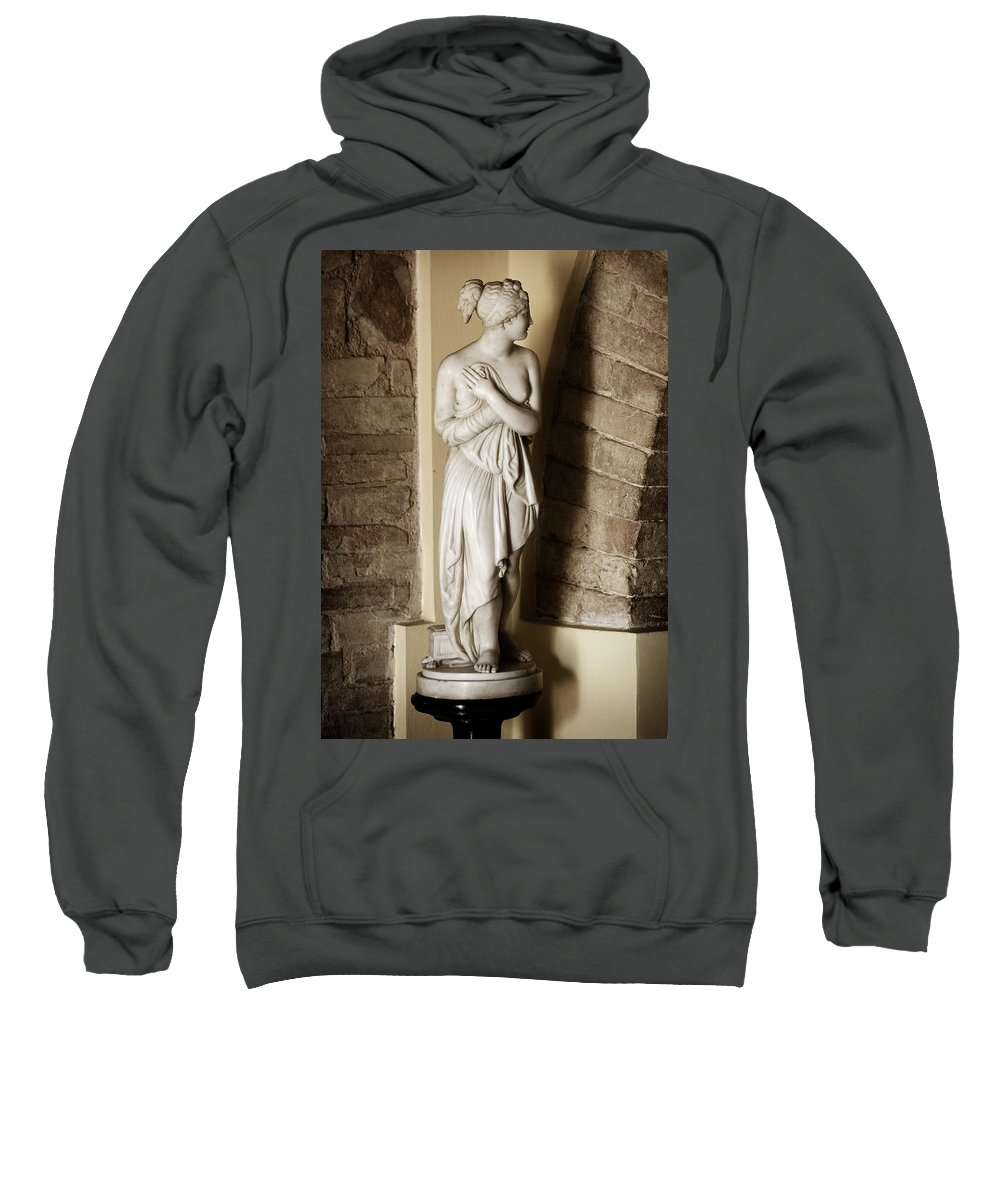 Statue Sweatshirt featuring the photograph Peering Woman by Marilyn Hunt