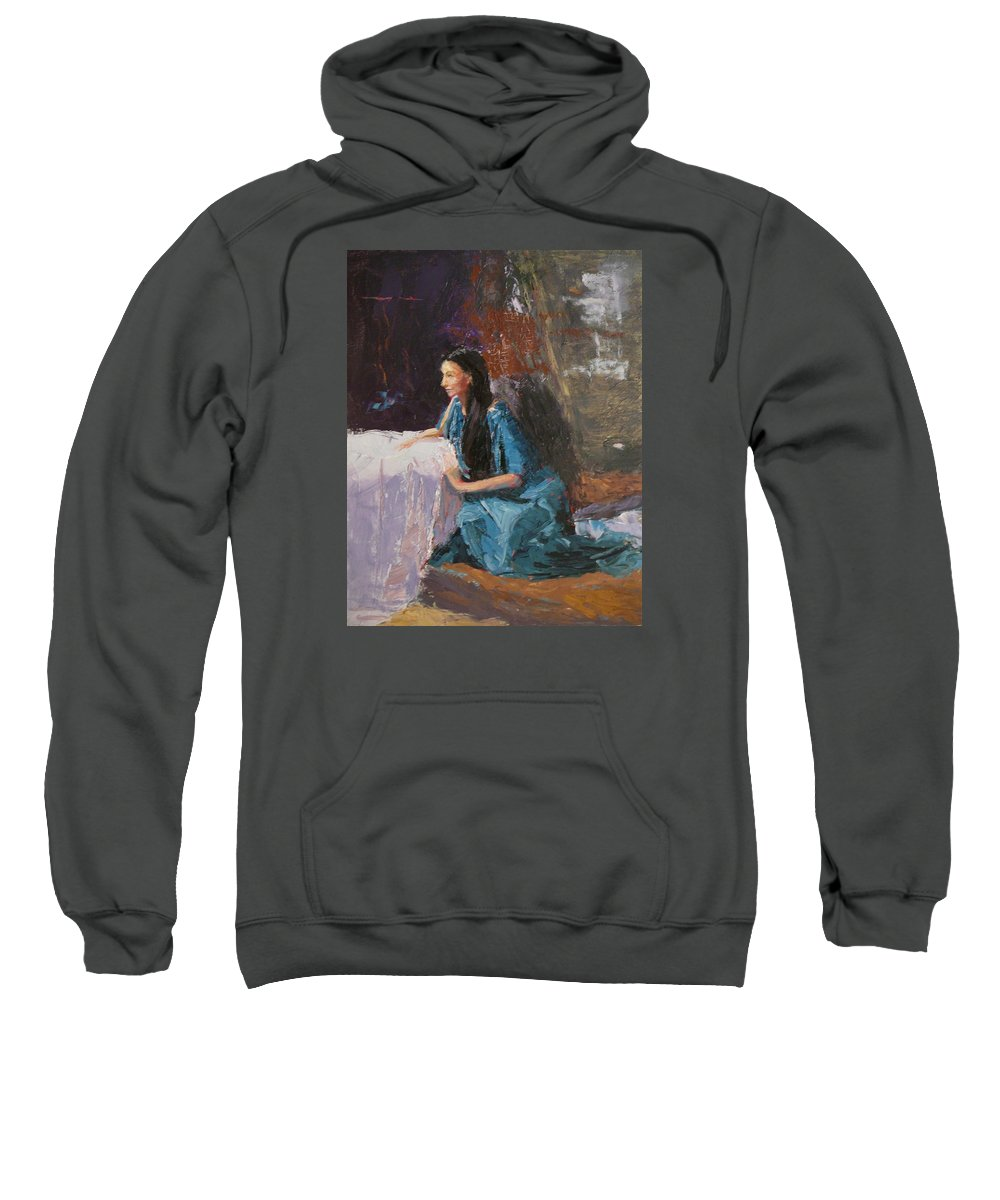 Sitting Woman Sweatshirt featuring the painting Penelope by Irena Jablonski