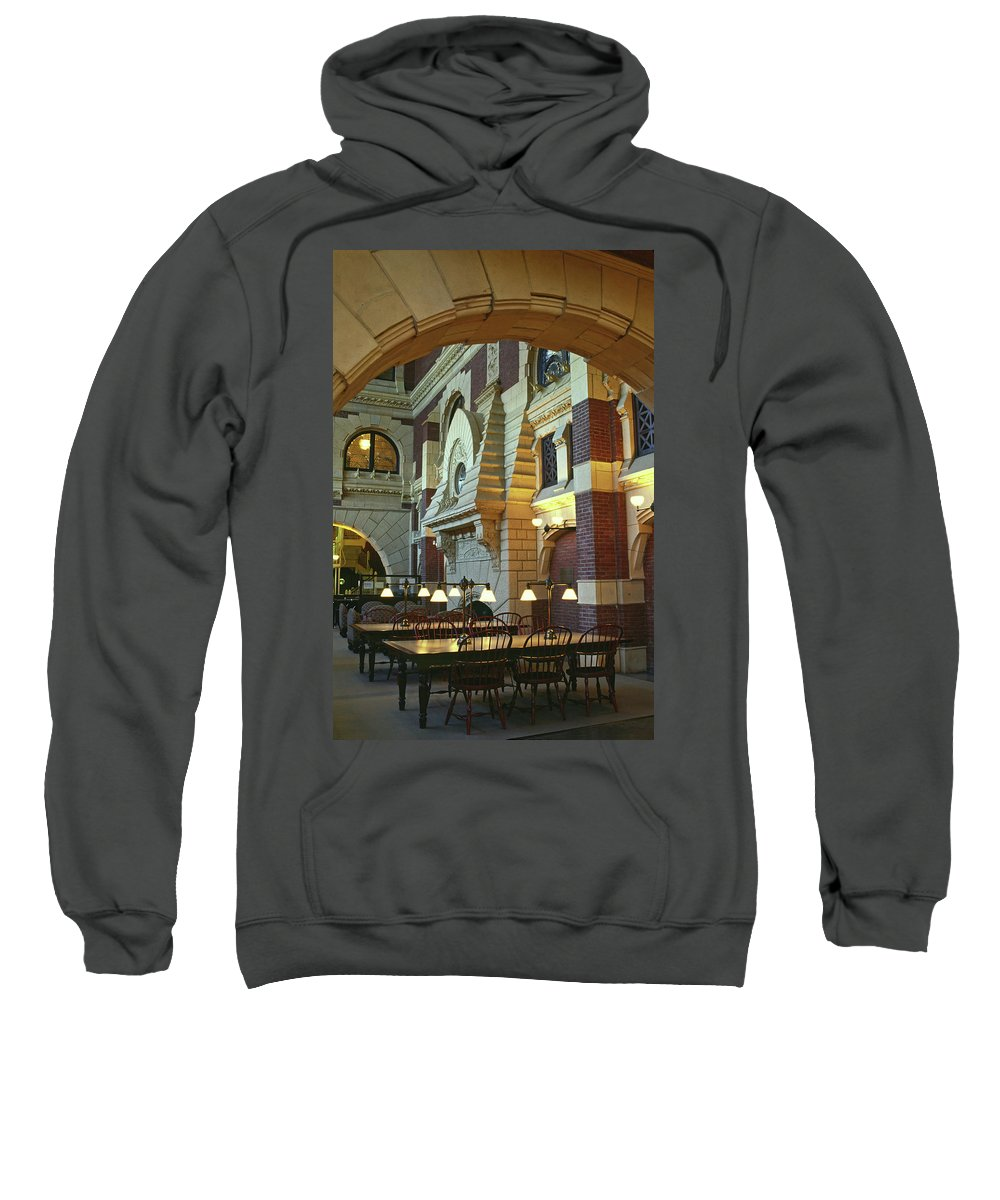 Reading Room Sweatshirt featuring the photograph Penn Fine Arts Library by Sally Weigand