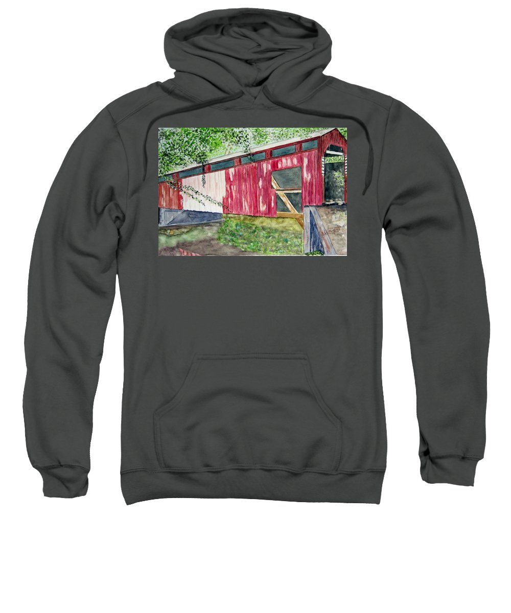 Pennsylvania Art Sweatshirt featuring the painting Pennsylvania Bridge To Nowhere by Larry Wright