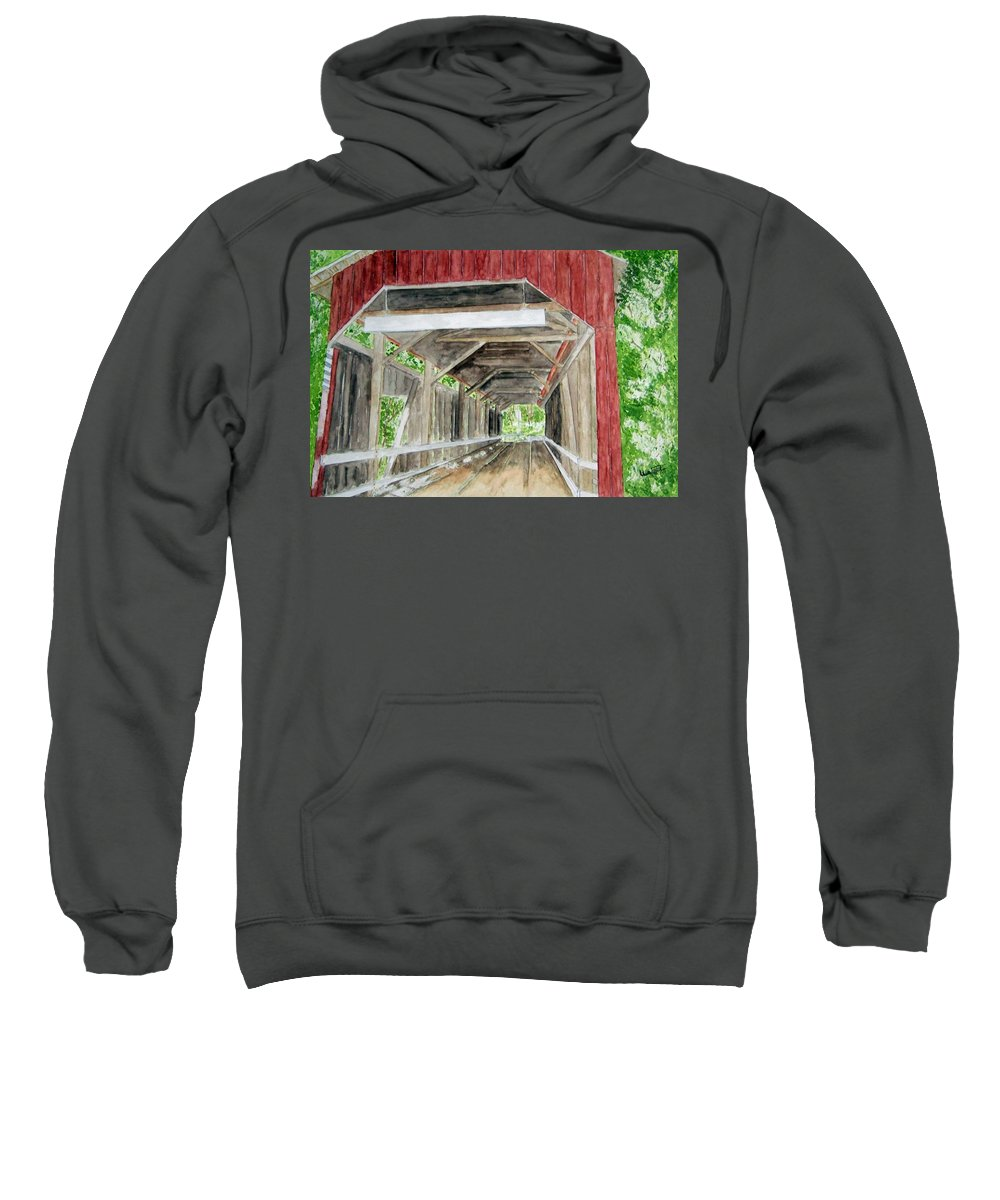 Covered Bridge Art Sweatshirt featuring the painting Pennsylvania Inside And Out by Larry Wright