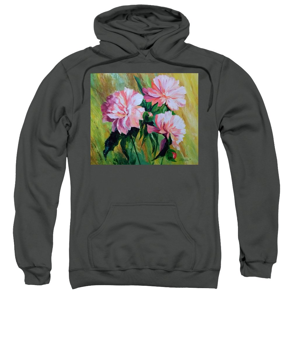 Peonies Sweatshirt featuring the painting Peonies by Olha Darchuk