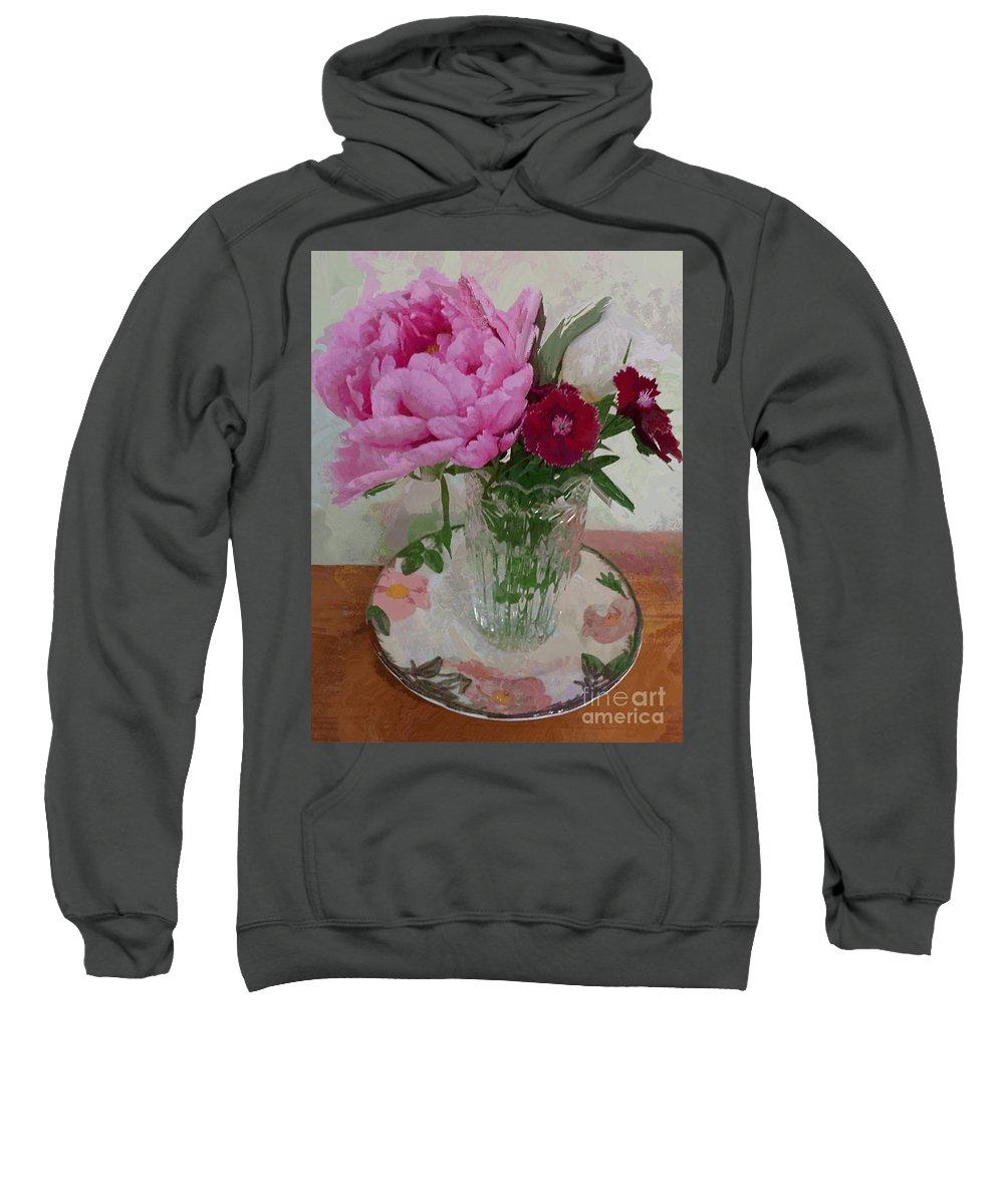 Peonies Sweatshirt featuring the digital art Peonies With Sweet Williams by Alexis Rotella