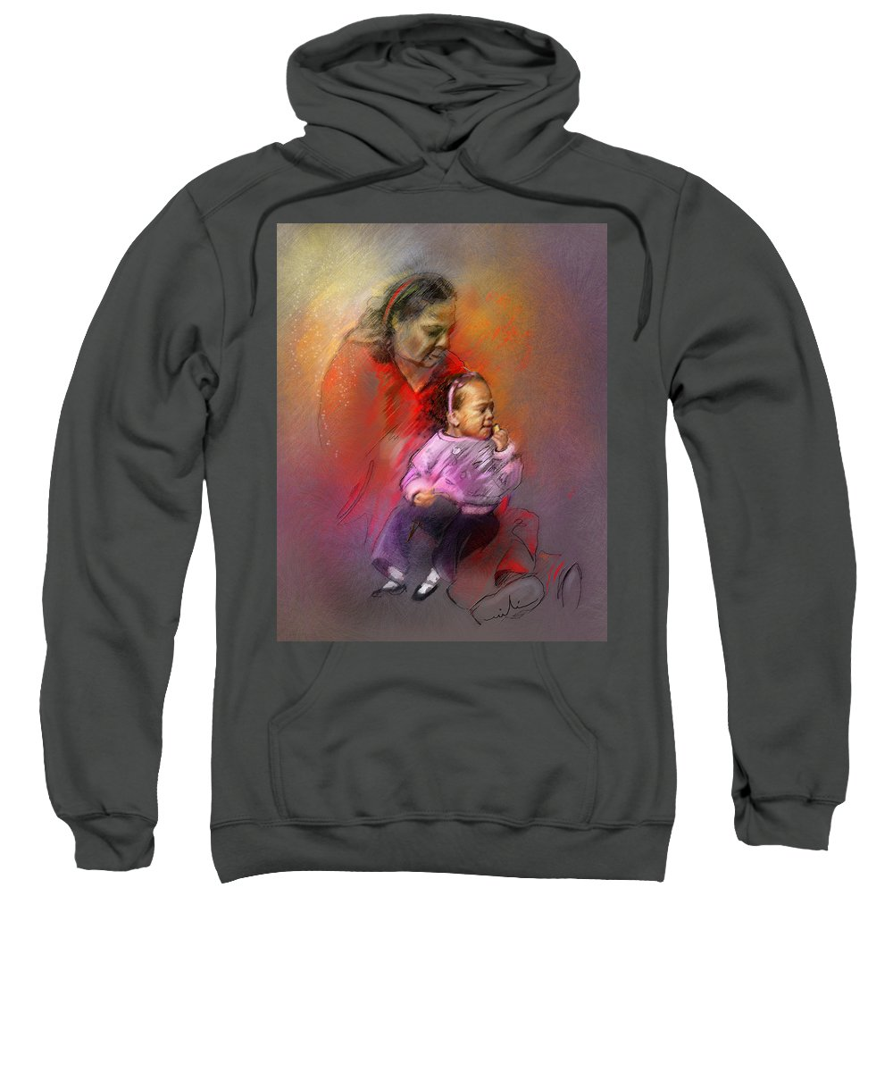 Mother Sweatshirt featuring the painting People From Memphis 03 Bis by Miki De Goodaboom