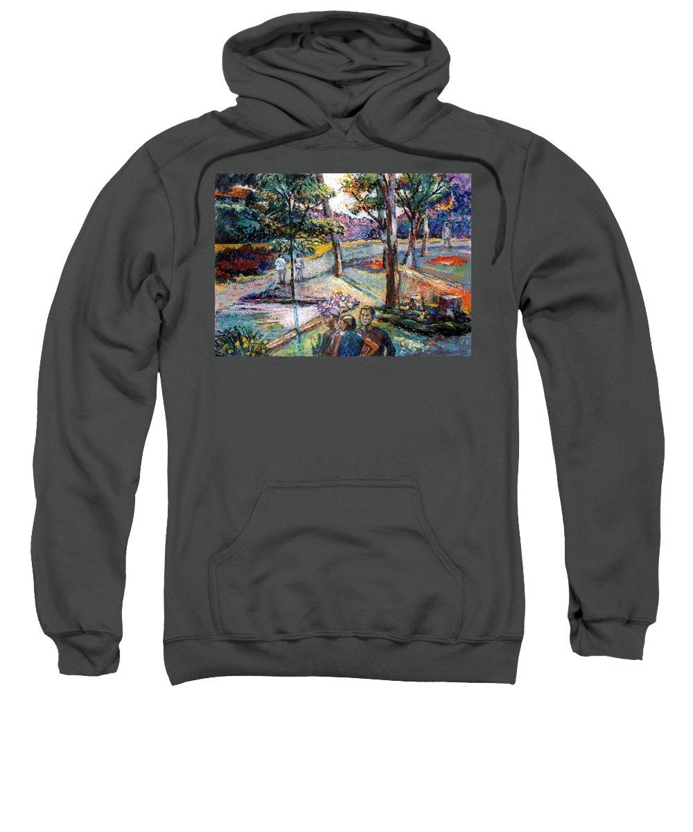 Landscape Sweatshirt featuring the pastel People In Landscape by Stan Esson