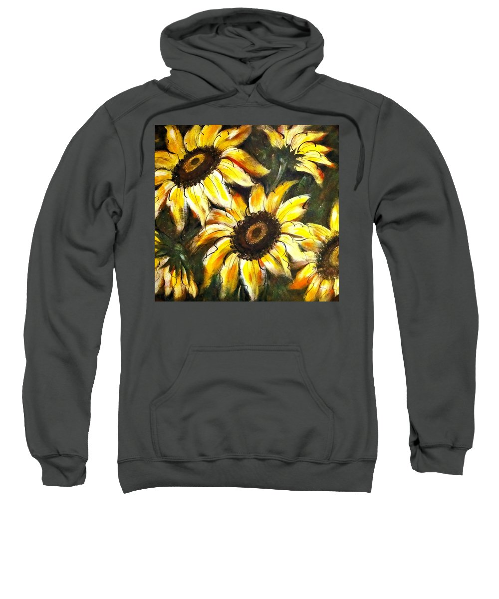 Sunflowers Greeting Cards Sweatshirt featuring the painting Perfect Beauty Sunflower by Natalie Holland