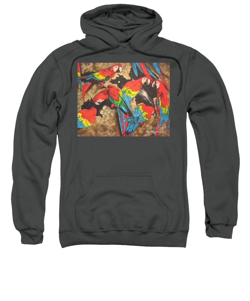 Six Macaws Sweatshirt featuring the painting Nope Its Not The My Pillow Guy  by Sigrid Tune