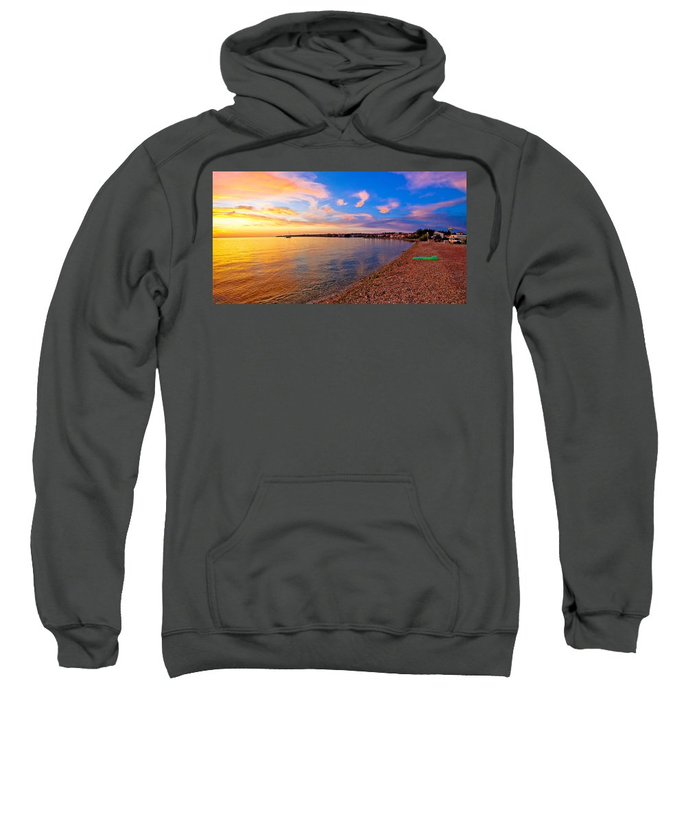 Petrcane Sweatshirt featuring the photograph Petrcane Beach Golden Sunset View by Brch Photography