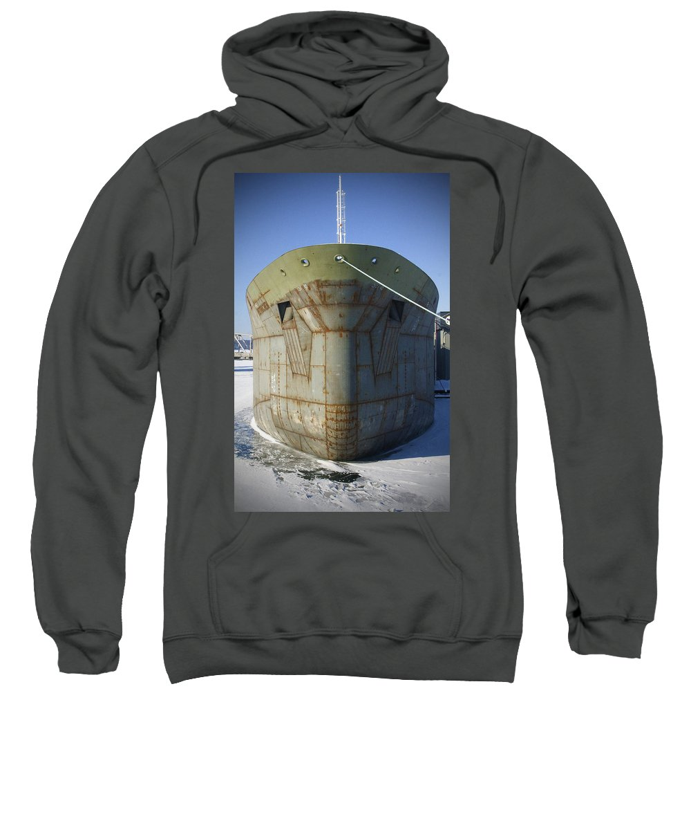 Boats Sweatshirt featuring the photograph Petrochem Supplier Hull by Tim Nyberg