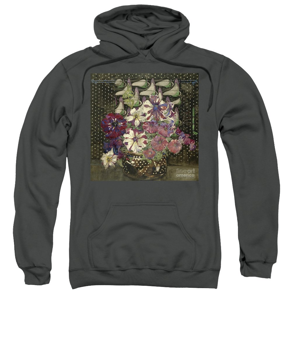 Petunias Sweatshirt featuring the painting Petunias, 1916 by Charles Rennie Mackintosh