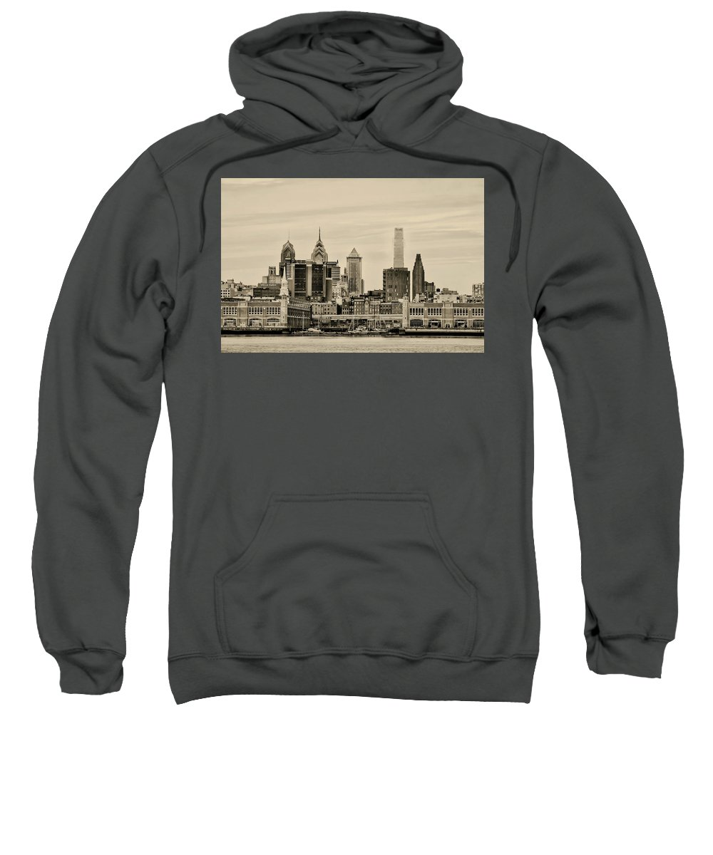 Philadelphia Sweatshirt featuring the photograph Philadelphia From The Waterfront In Sepia by Bill Cannon