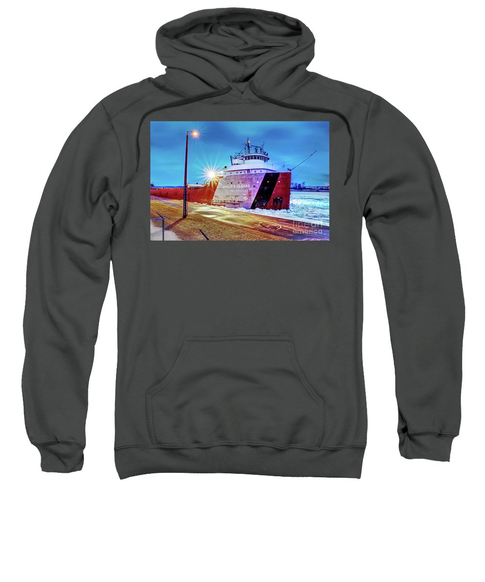 Great Lake Freighter Sweatshirt featuring the photograph Philip R.clarke West Pier Sault Ste.marie Michigan -3124 by Norris Seward