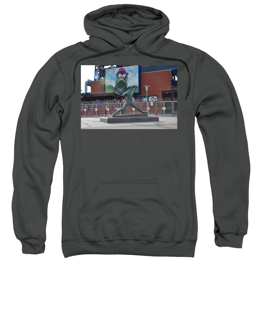 Phillies Sweatshirt featuring the photograph Phillies Steve Carlton Statue by Bill Cannon