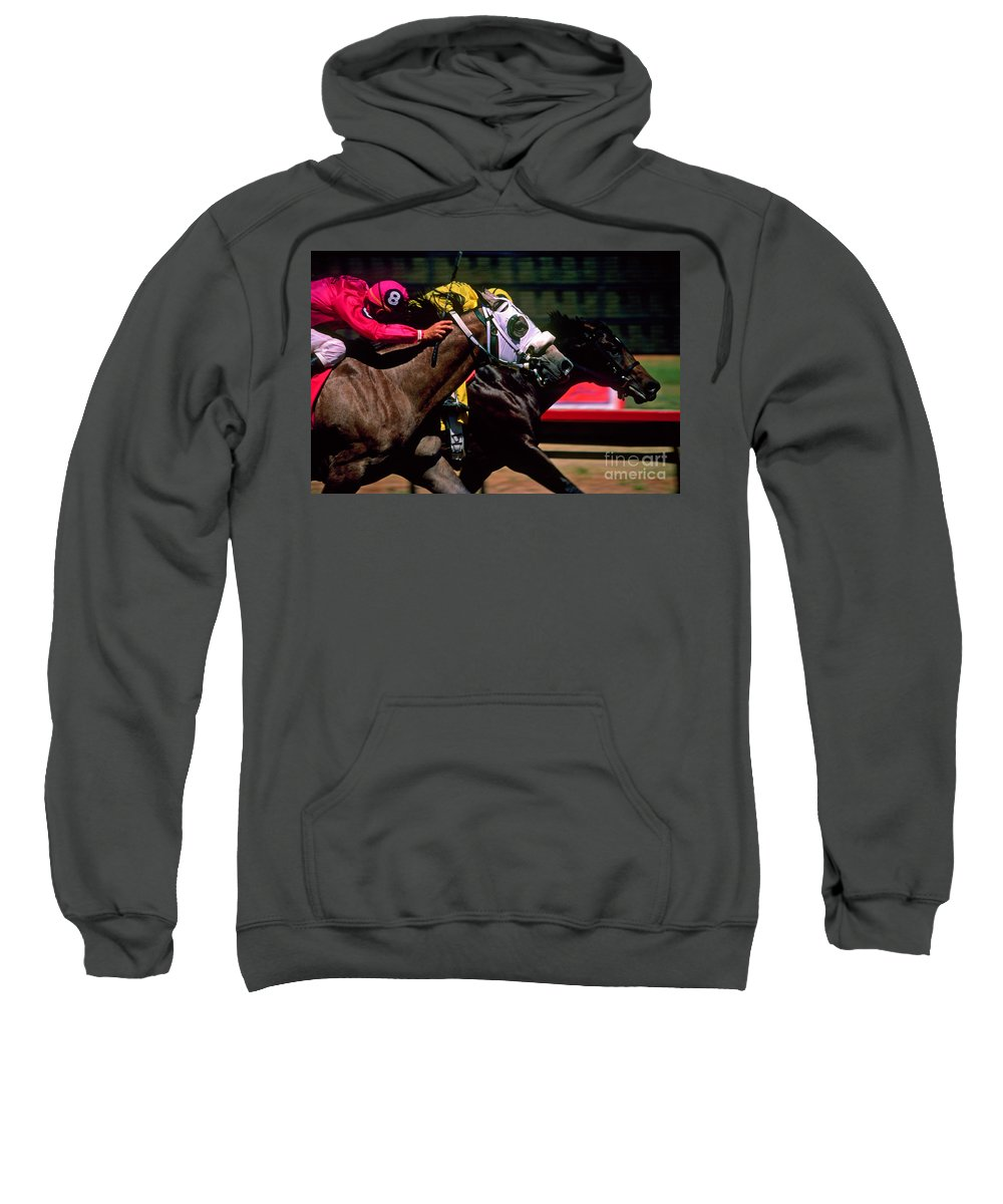 Horse Sweatshirt featuring the photograph Photo Finish by Kathy McClure