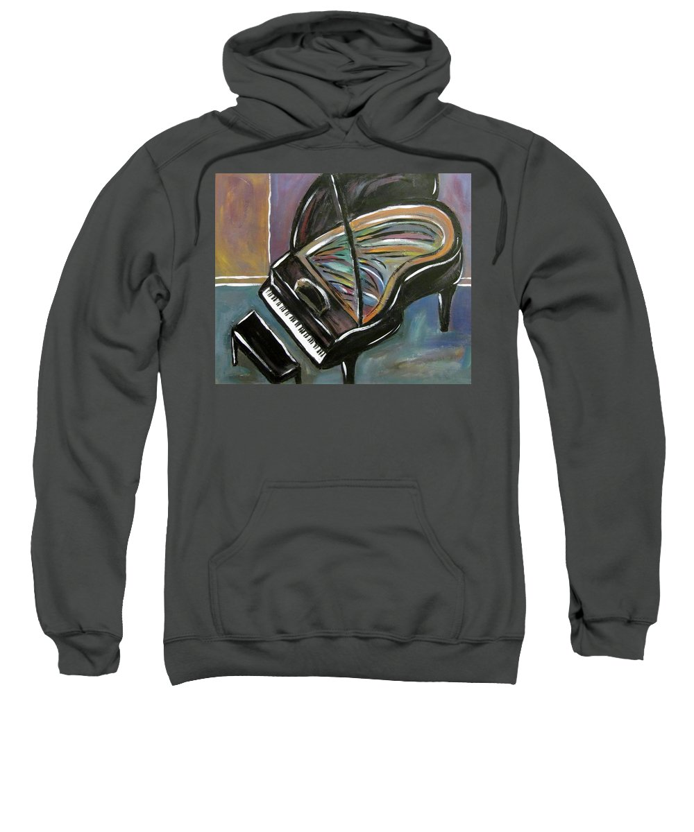 Impressionist Sweatshirt featuring the painting Piano With High Heel by Anita Burgermeister