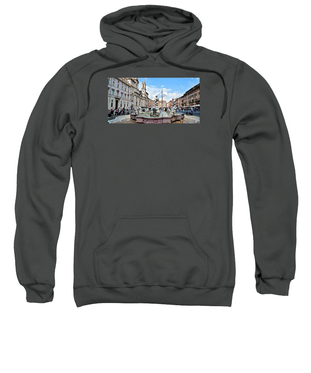 Piazza Sweatshirt featuring the photograph Piazza Navona Panorama by Frozen in Time Fine Art Photography