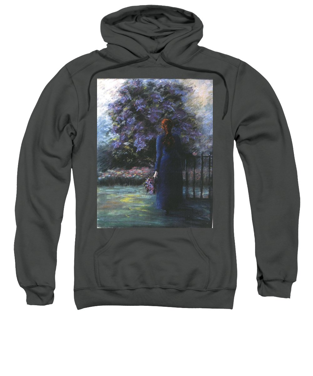 Woman Lilac Flower Tree Sweatshirt featuring the pastel Picking Lilacs by Pat Snook