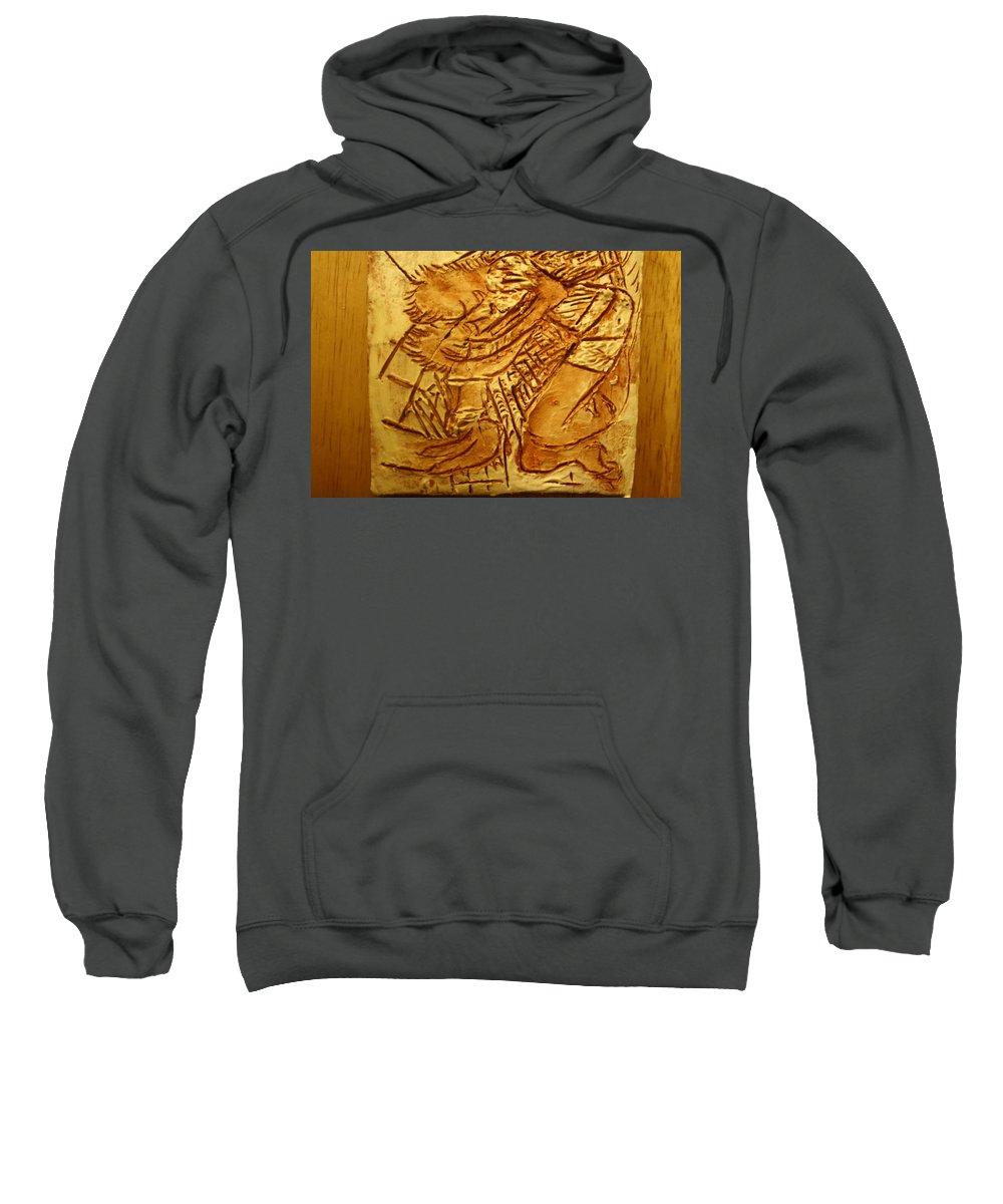 Jesus Sweatshirt featuring the ceramic art Picnic - Tile by Gloria Ssali