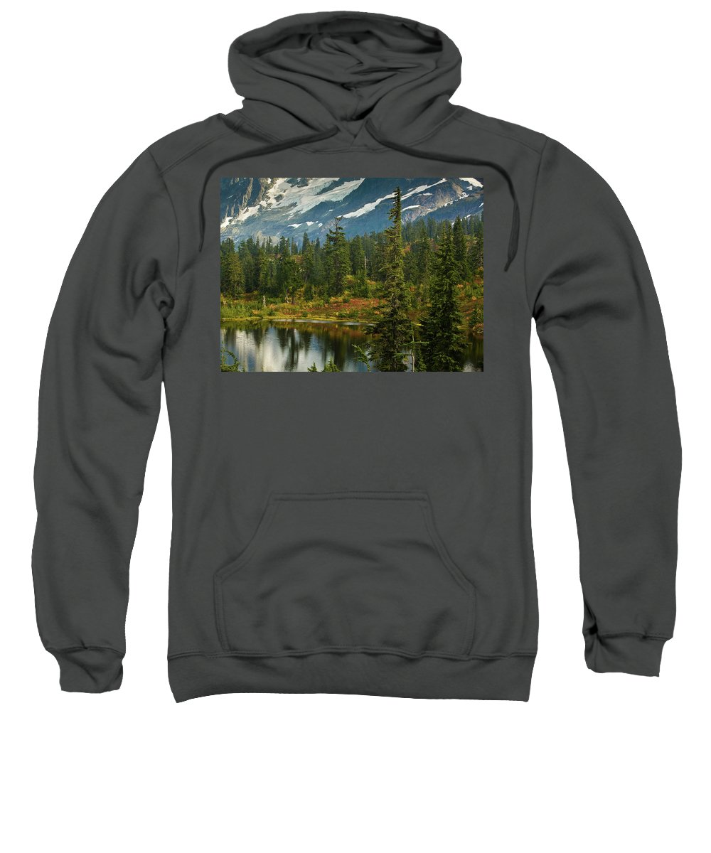 Picture Lake Sweatshirt featuring the photograph Picture Lake Vista by Mike Reid