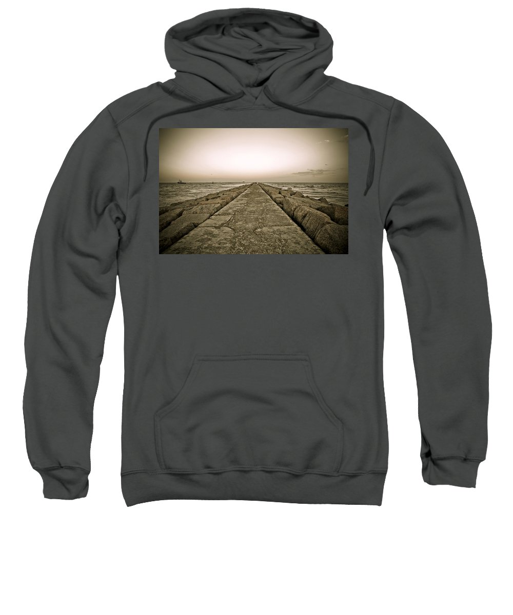 Water Sweatshirt featuring the photograph Pier At Sunset by Marilyn Hunt