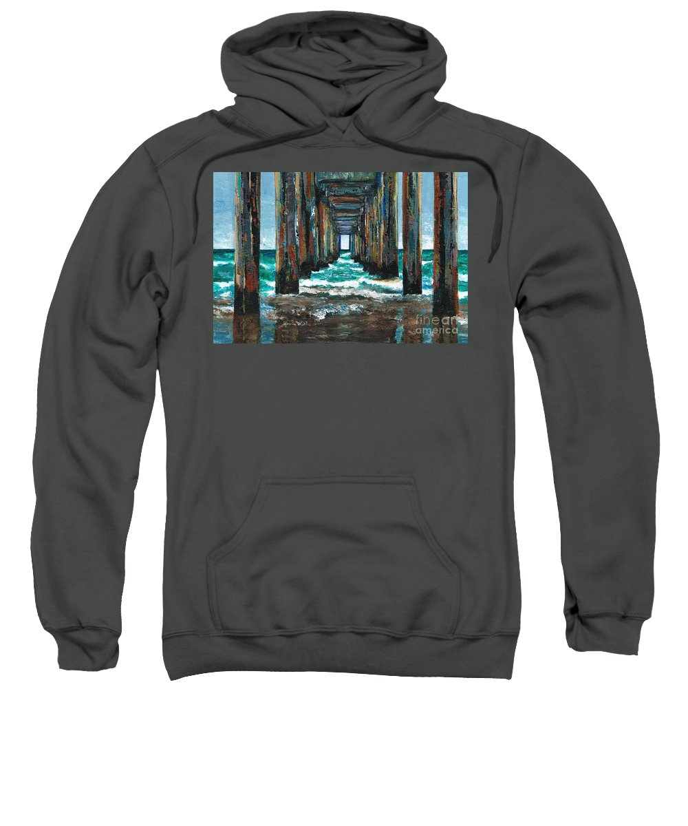 Ocean Sweatshirt featuring the painting Pier One by Frances Marino