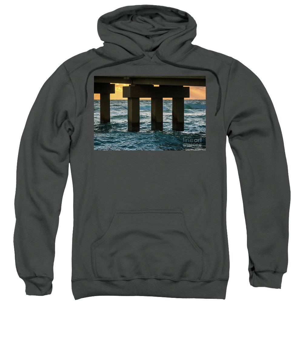 Bridge Sweatshirt featuring the photograph Pierlines by Minimalist Prints