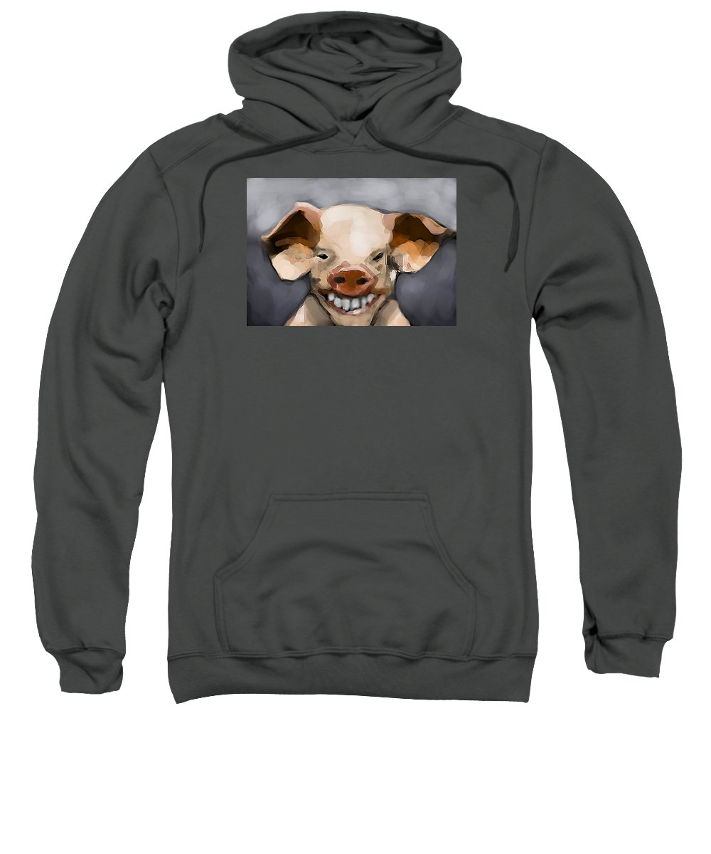 Pig Sweatshirt featuring the digital art Pig Human Morphed by Lori Wadleigh