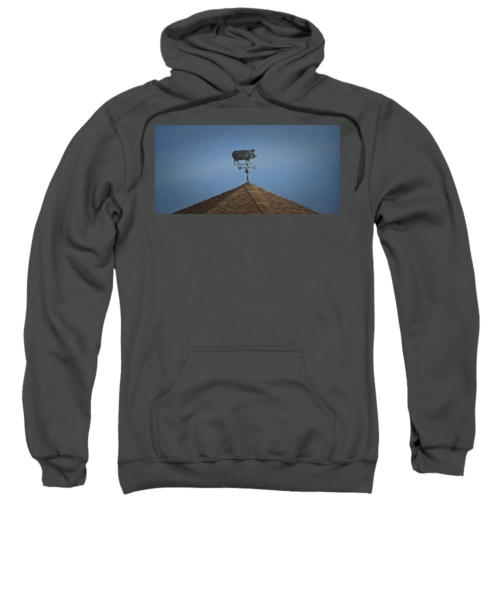 Pig Sweatshirt featuring the photograph Pig Weathervane Ocean Isle North Carolina by Teresa Mucha