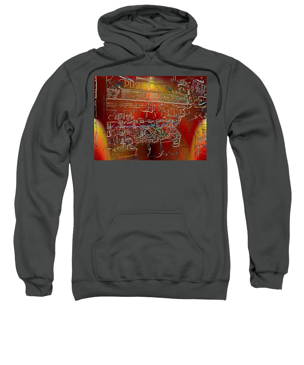 Seattle Sweatshirt featuring the photograph Pike Place Fish by Tim Allen