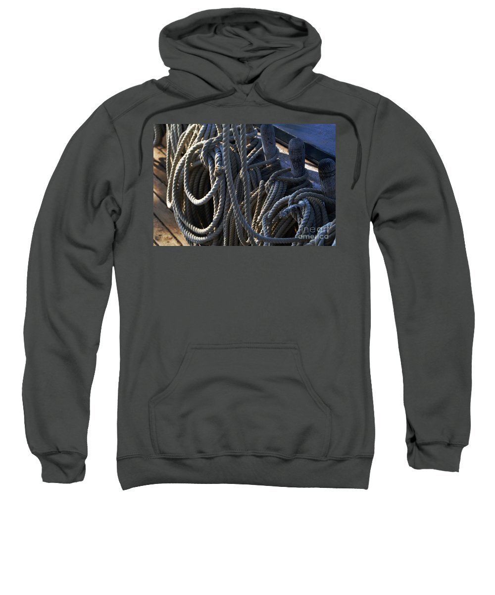 Nautical Sweatshirt featuring the photograph Pin Rail And Rope by Linda Shafer