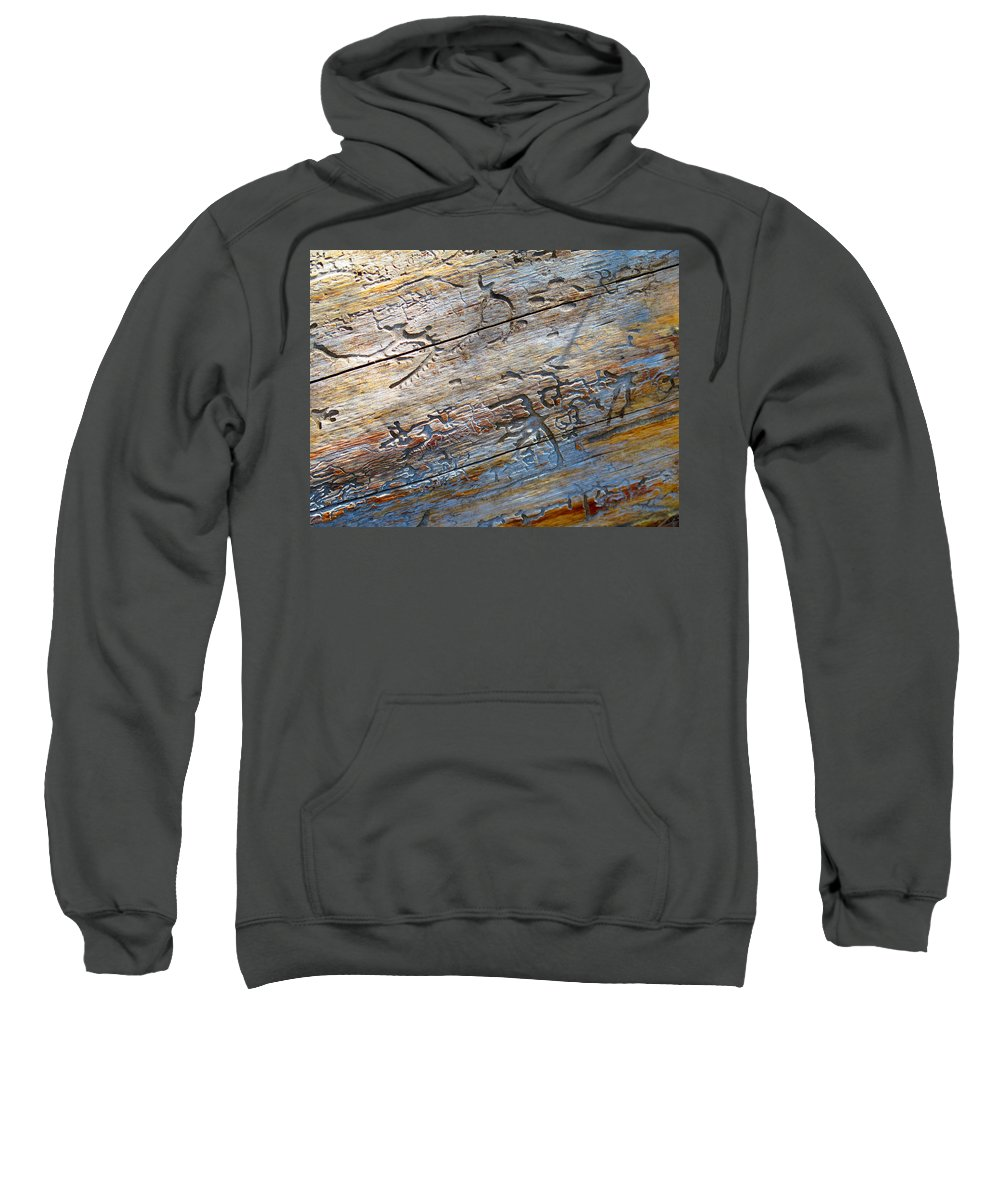 Tree Sweatshirt featuring the photograph Pine Beetle Etchings by Alanna Morris
