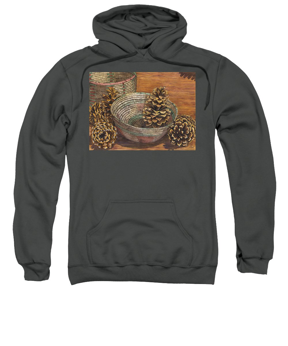 Pinecone Sweatshirt featuring the painting Pinecones by Catherine G McElroy