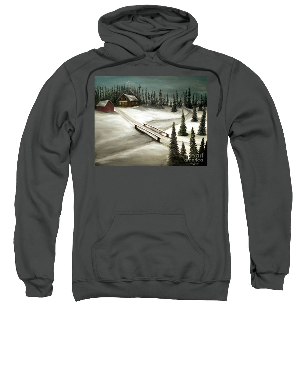 Pines. Homestead Sweatshirt featuring the painting Piney Winter by Timothy Smith