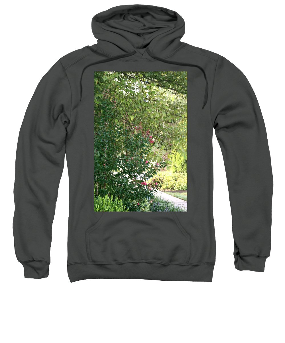 Path Sweatshirt featuring the photograph Pink And Green Path by Nadine Rippelmeyer