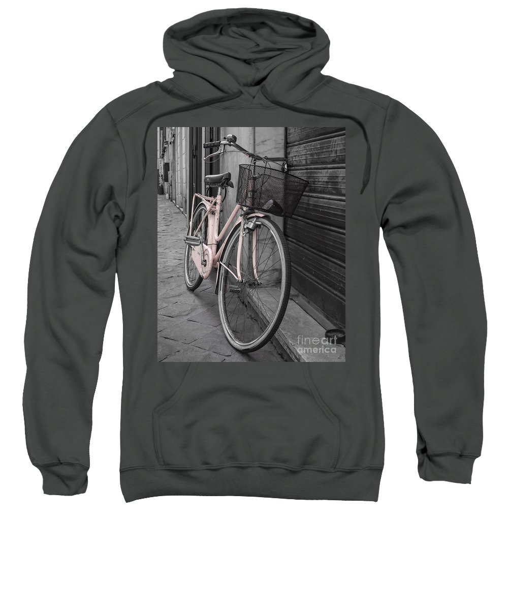 Pink Sweatshirt featuring the photograph Pink Bicycle In Rome by Edward Fielding