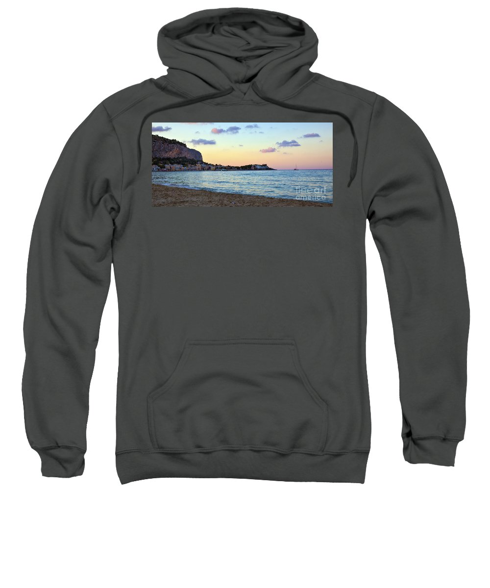 Mediterranean Sweatshirt featuring the photograph Pink Clouds Over Sicily by Madeline Ellis