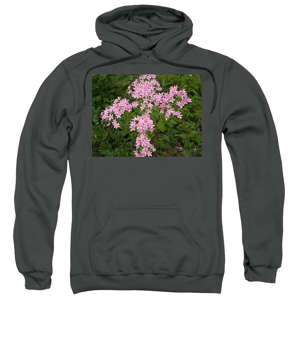 Flowers Sweatshirt featuring the photograph Pink Flower Cross by Anne Cameron Cutri