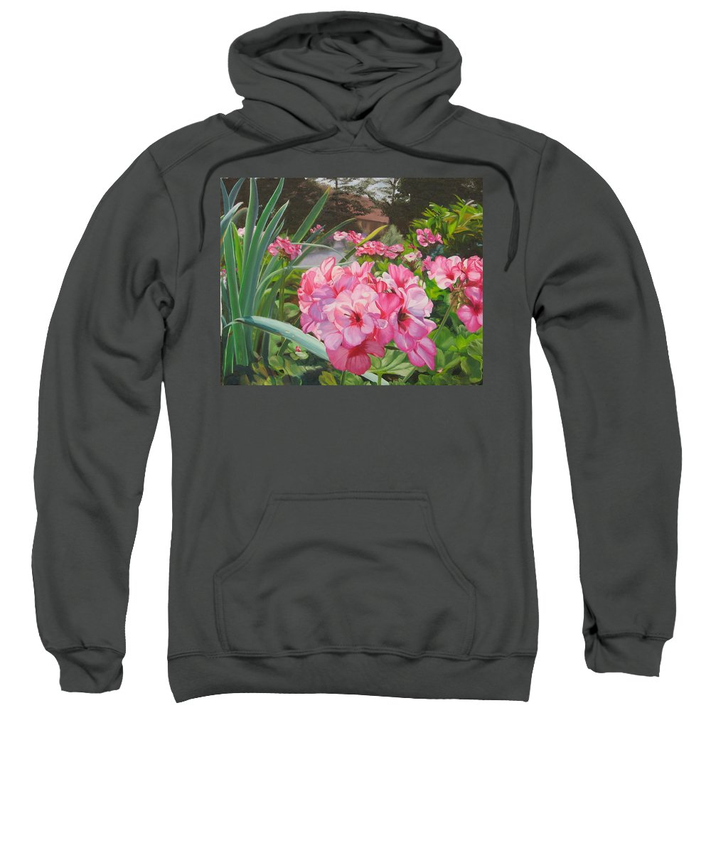 Pink Geraniums Sweatshirt featuring the painting Pink Geraniums by Lea Novak